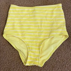 Aerie Yellow and White Bathing Suit Bottoms